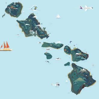 mark ghee galacgac - hawaii island illustration