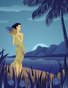 pineapple hula girl illustration - mark ghee galacgac